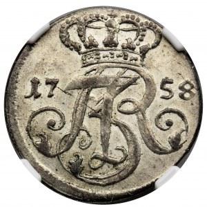 Augustus III of Poland, 3 Groschen Danzig 1758 - NGC MS62