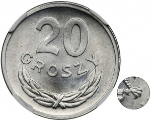 20 groszy 1973 - bez znaku mennicy - NGC MS66 - RZADSZE
