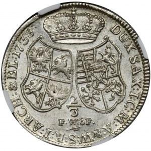 Augustus III of Poland, 2/3 Thaler Dresden 1738 FWóF - NGC MS60