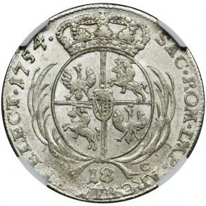 Augustus III of Poland, 1/4 Thaler Leipzig 1754 EC - NGC MS62