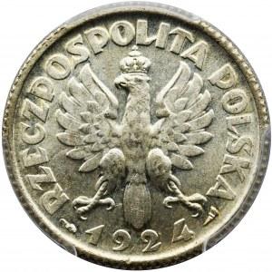 Kobieta i kłosy, 1 złoty 1924 - PCGS MS62