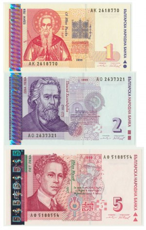 Bulgaria, Set of 1,2,5 Levas 1999 (3pcs.)