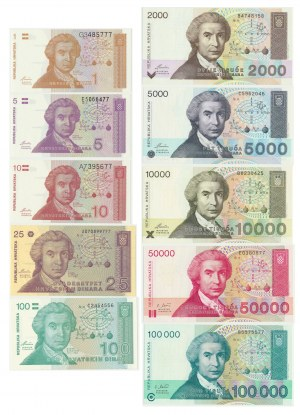 Croatia, Set of dinars 1991-93 (10pcs.)