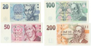 Czech, Republic Set of 20-200 crowns 1994-98 (4pcs.)