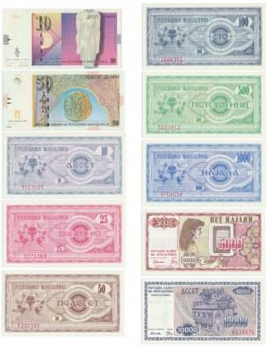 Macedonia, Zestaw 10-10.000 dinarów 1992-2001 (10 szt.)