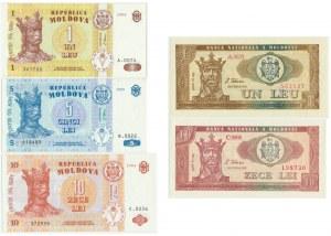Moldova, Set of 1-10 lei 1992-99 (5pcs.)
