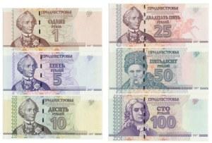 Transnistria, Set of 1-100 rubles 2007 (6 pcs.)