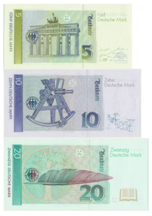 Germany, Set of 5 - 20 marks 1991-99 (3pcs.)