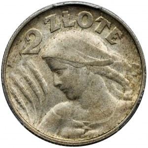 Kobieta i kłosy, 2 złote Birmingham 1924 - literka H - PCGS AU55 - NAJRZADSZE