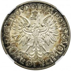 Głowa Kobiety, 10 złotych Warszawa 1933 - NGC MS62