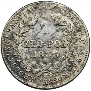 Polish Kingdom, 1 zloty Warsaw 1833 KG - VERY RARE