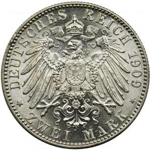 Germany, Saxony, Friedrich August III, 2 Mark Muldenhütten 1909