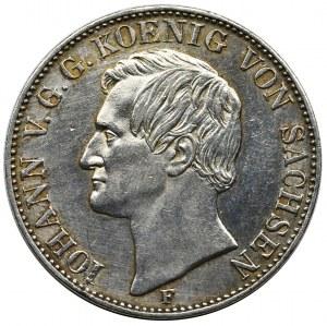 Germany, Saxony, Johann V, Thaler Dresden 1859 F