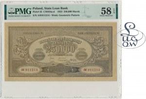 250.000 marek 1923 - AW - PMG 58 EPQ - Kolekcja Lucow - szeroka numeracja