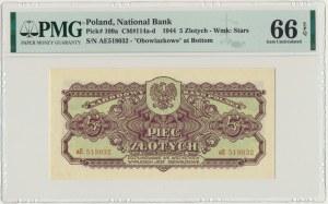 5 złotych 1944 ...owe - aE - PMG 66 EPQ - rzadka odmiana