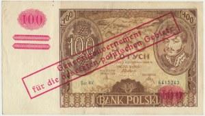 100 złotych 1934(9) - Ser.AV. - oryginalny przedruk okupacyjny - RZADKOŚĆ ze znakiem wodnym kreski na dole