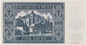 1.000 złotych 1941 - Ser.A - reprodukcja z właściwym znakiem wodnym