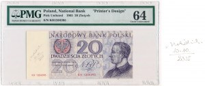 20 złotych 1965 - KH - podpis A.Heidrich - PMG 64 - UNIKAT