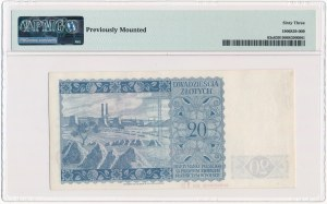 20 złotych 1939 WZÓR De La Rue & Co Ltd - K 000000 - Specimen No 18 - PMG 63 - UNIKAT