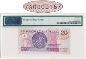 20 złotych 1994 - ZA 0000167 - PMG 65 EPQ - seria zastępcza i bardzo niski numer