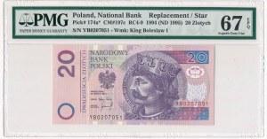 20 złotych 1994 - YB - PMG 67 EPQ - seria zastępcza