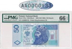 50 złotych 1994 - AA 0000133 - PMG 66 EPQ - BARDZO RZADKI