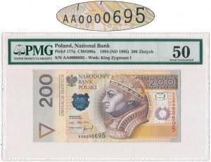 200 złotych 1994 - AA 0000695 - PMG 50 - bardzo niski numer