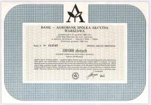 Bank - Agrobank S.A. Warszawa 1989, akcja 100.000 zł