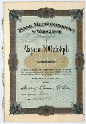 Bank Międzynarodowy w Warszawie S.A. akcja na 500 zł, 1925