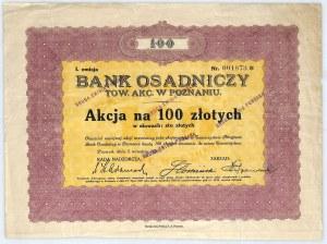 Bank Osadniczy Towarzystwo Akcyjne akcja na 100 zł, em. I