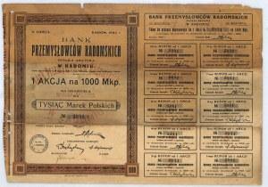 Bank Przemysłowców Radomskich S.A. akcja na 1000 mkp, em. II