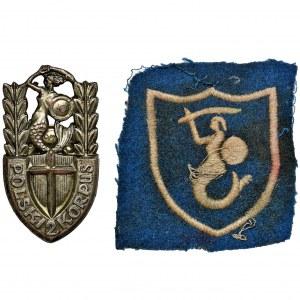 Zestaw, Odznaka i oznaka 2 Korpusu Polskiego