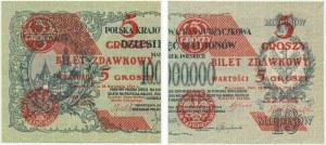 5 groszy 1924 - lewa i prawa połowa - (2szt.)