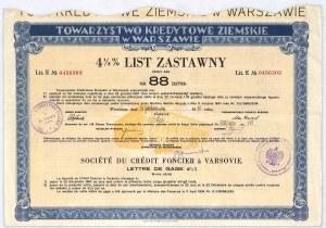 Towarzystwo Kredytowe Ziemskie w Warszawie, 4,5% list zastawny, 88 zł