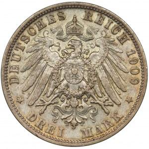 Germany, Bavaria, Otto, 3 mark Munich 1909 D