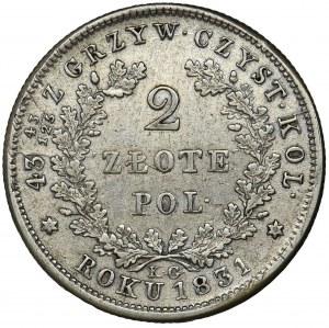 November Uprising, 2 zloty Warsaw 1831 KG