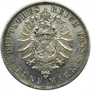 Germany, Kingdom of Prussia, Friedrich III, 5 mark 1888 A