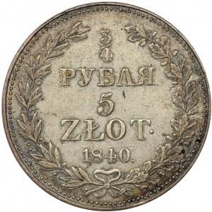 3/4 rubla = 5 złotych Warszawa 1840 MW - RZADKI