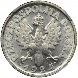 Kobieta i kłosy, 2 złote 1924 Paryż - NGC MS62 - PIĘKNA