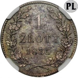 Wolne Miasto Kraków, 1 złoty 1835 - NGC MS62 PL - jak lustrzanka - RZADKOŚĆ