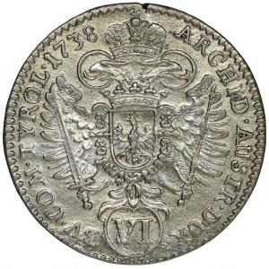 Austria, Karl VI, 6 Kreuzer Hall 1738