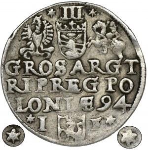 Sigismund III Vasa, 3 Groschen Olkusz 1594 - VERY RARE