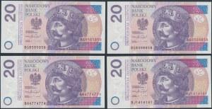20 złotych 2016 - ciekawe numery (4szt)