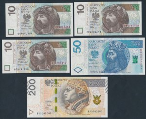 Zestaw 3x 10, 50 i 200 zł 2015-17 (5szt)