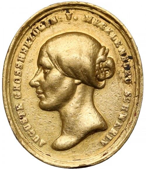 Niemcy, Mecklenburg, Fryderyk Franz II, Medal pośmiertny ZŁOTO pamięci żony Auguste von Reuss