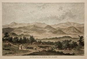 KARKONOSZE. Panoramiczny widok na Karkonosze od strony Jeleniej Góry, ryt. W
