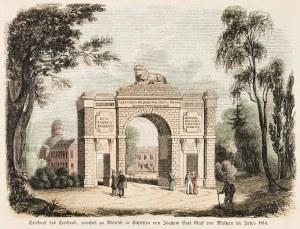 MILICZ. Brama Pokoju; anonim, niemiecka grafika z XIX wieku; drzew. szt. kolor.