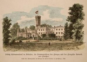 MYSŁAKOWICE. Widok na pałac po przebudowie według projektu F.A. Stülera; rys