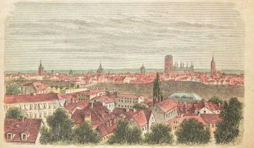 GDAŃSK. Widok miasta z Biskupiej Górki, anonim, niemiecka grafika z XIX wieku