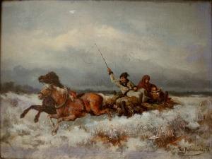 Tadeusz Rybkowski (1848-1926), Zaprzęg zimą(1878)